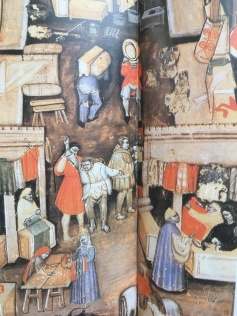 Market Street in Genova, 13th century painting