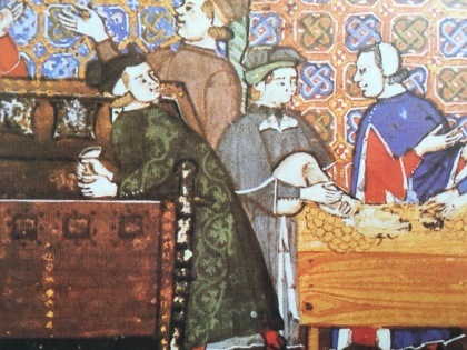 "12th century Accountants in Genova counting out the widows and infants ""dole."""